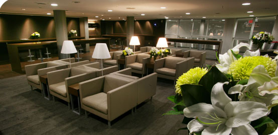 The lounge at the Toronto City Airport is lovely